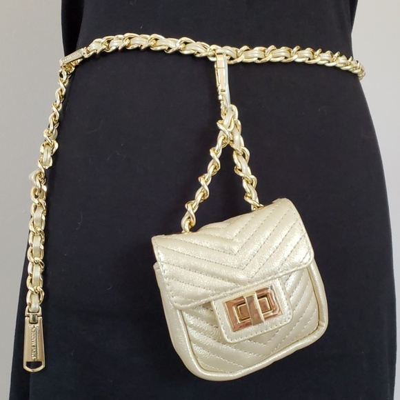 fae7f946d Steve Madden Bags | Gold Chevron Mini Belt Bag | Poshmark